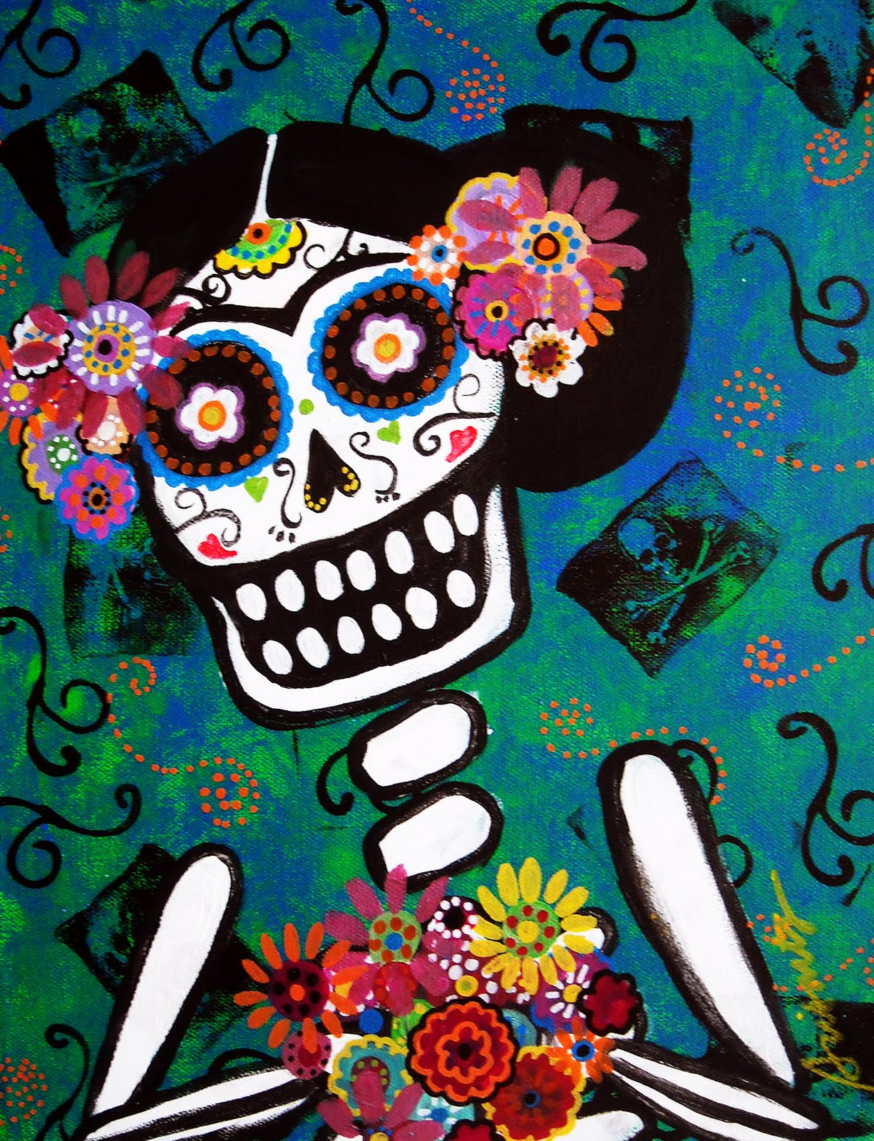 This Is Another Day Of The Dead Artwork With Frida Kahlo As Subject Done In 11 X 14 Inches Stretched Canvas