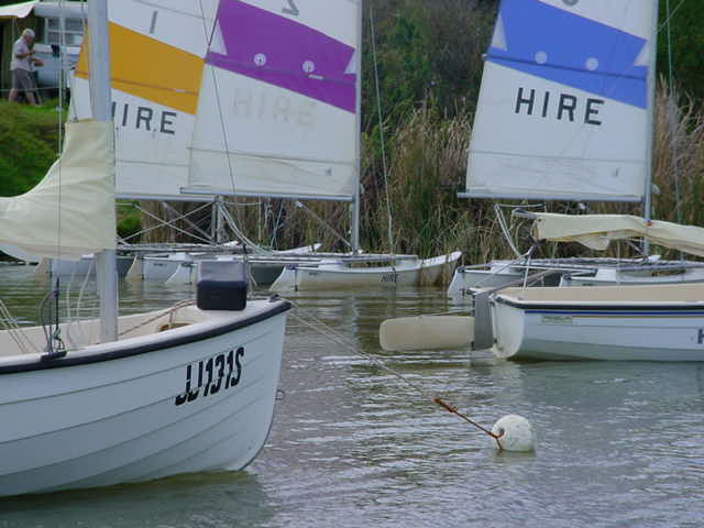 Some of the hire fleet.  There are some wooden boats available too.
