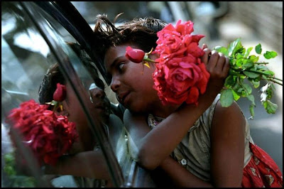 Child Selling Roses On Street of Mumbai