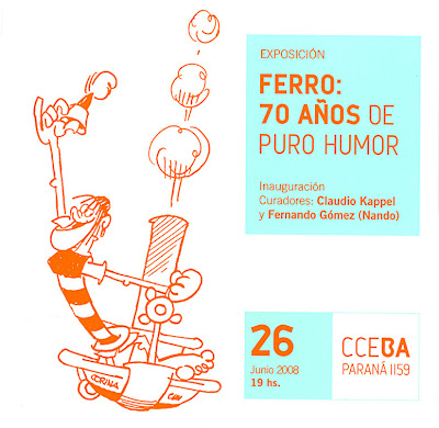 Tarjetón de la Expo Ferro 70 años de Puro Humor en Buenos Aires