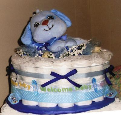 Blue Puppy 1 tier diaper cake:  $50.00