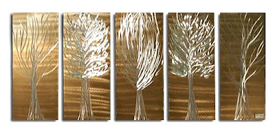 Luxury Wall Decorating - 5 Trees Metal Wall Scultprues