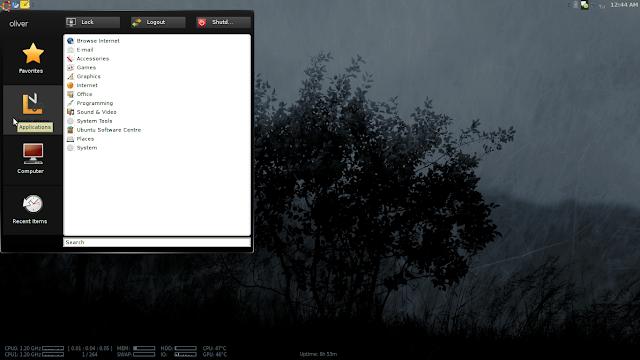GnoMenu screenshot in 64-bit Ubuntu