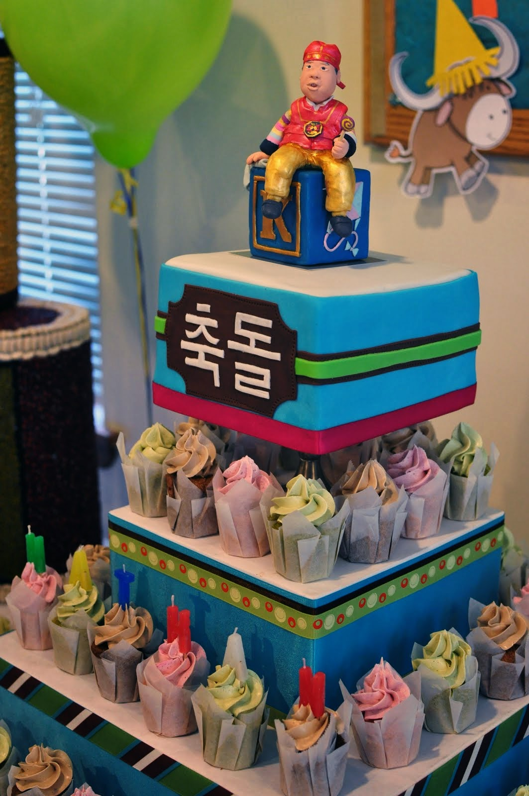 Dol Babys First Birthday Cake And Cupcakes Kke