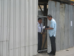 Witnessing to a security guard at bank which is under renovation.