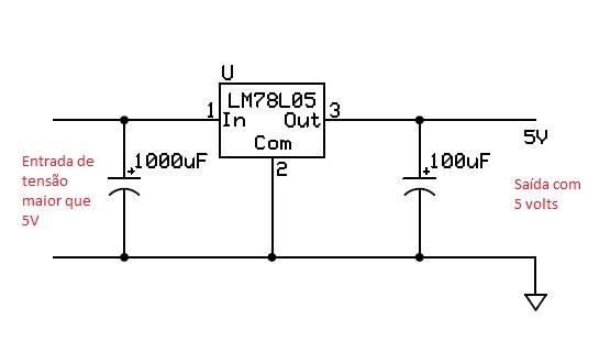 Conhecendo componentes eletronicos 7805+e+carregador