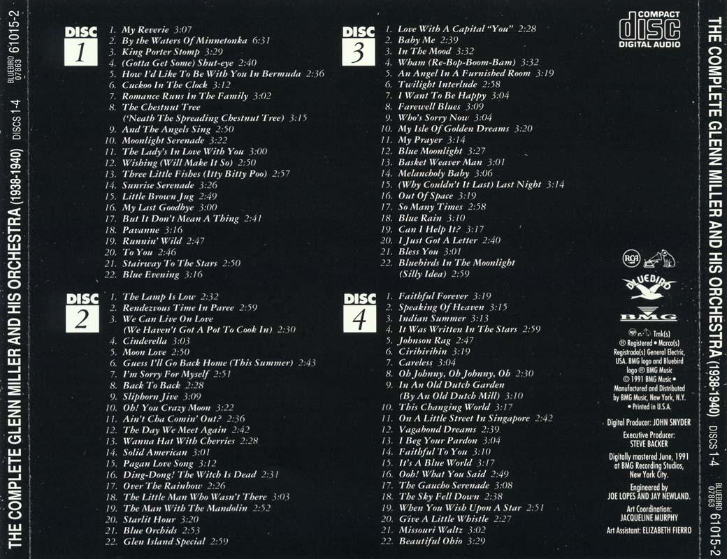 The Complete Glenn Miller and his Orchestra 1938-1942  1991 Glenn Miller Orchestra 1938