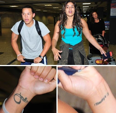 or creepy: JORDIN SPARKS' brother got her name tattooed on his wrist.