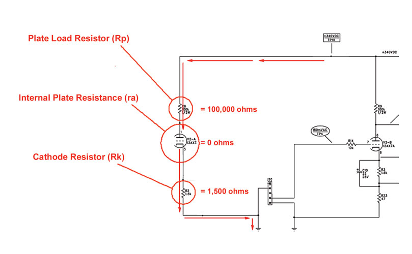 12AX7 preamp biasing - simplified current flow