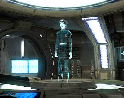 Admiral Dodonna as a hologram, communicating with the Ebon Hawk.