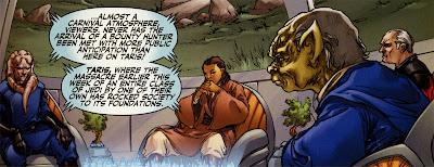 The Council of Dantooine follows Carrick's arrival on Taris