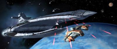The Leviathan attacks the Ebon Hawk
