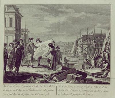Петр I закладывает камень основания Санкт Петербурга. Новелли П.А.,гравюра