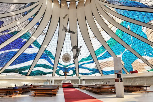 Center Hall of Cathedral Brasilia(Catedral Metropolitana Nossa Senhora Aparecida) - Catholic cathedral in the capital of Brazil - Brasilia. Serves as the seat of the Archbishop of Brasilia