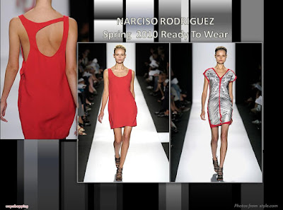 Narciso Rodriguez Spring 2010 Ready To Wear red cutout back dress and District 9 inspired dress