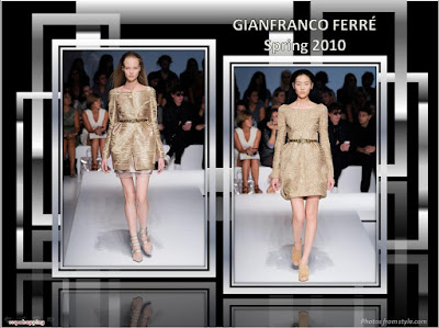 Gianfranco Ferre Spring 2010 Ready To Wear gold coat and gold dress