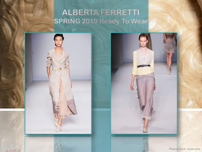 Alberta Ferretti Spring 2010 Ready To Wear calf-length trench and chiffon dress