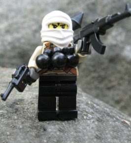 Lego-style fighting figures