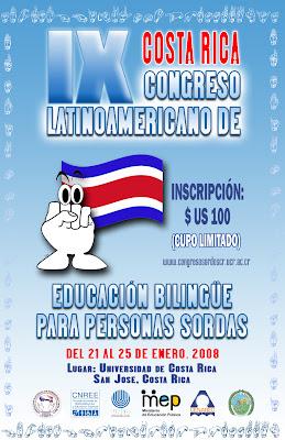 Afiche del IX Congreso de Educación Bilingüe para Personas Sordas. Contiene la misma información aquí descrita