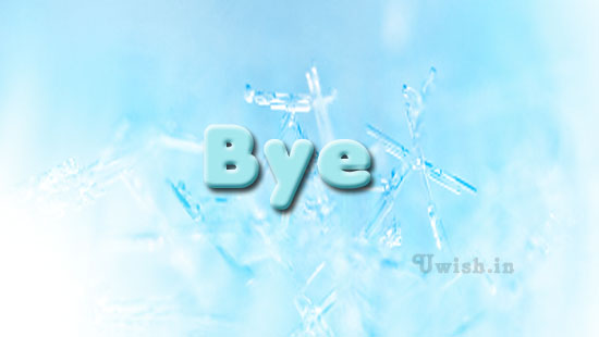 Bye with blue icy background e greeting cards and wishes