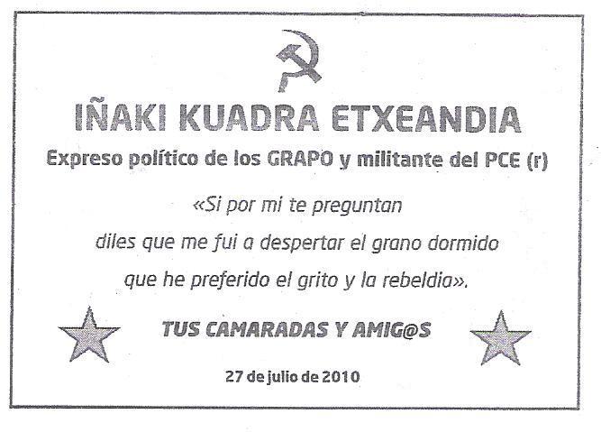 Fallece Iñaki Kuadra Etxeandia, ex preso de los GRAPO Eskela+001