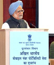 The Prime Minister, Dr Manmohan Singh launched Mobile Number Portability (MNP) Service in the country here today by making inaugural call to Kapil Sibal, the Union Minister of Communications & IT from a ported number.