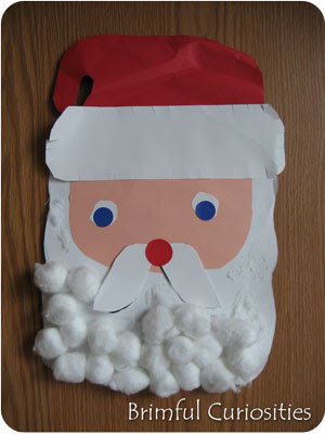 Santa Face Template Cotton Balls Kaboose.com santa advent