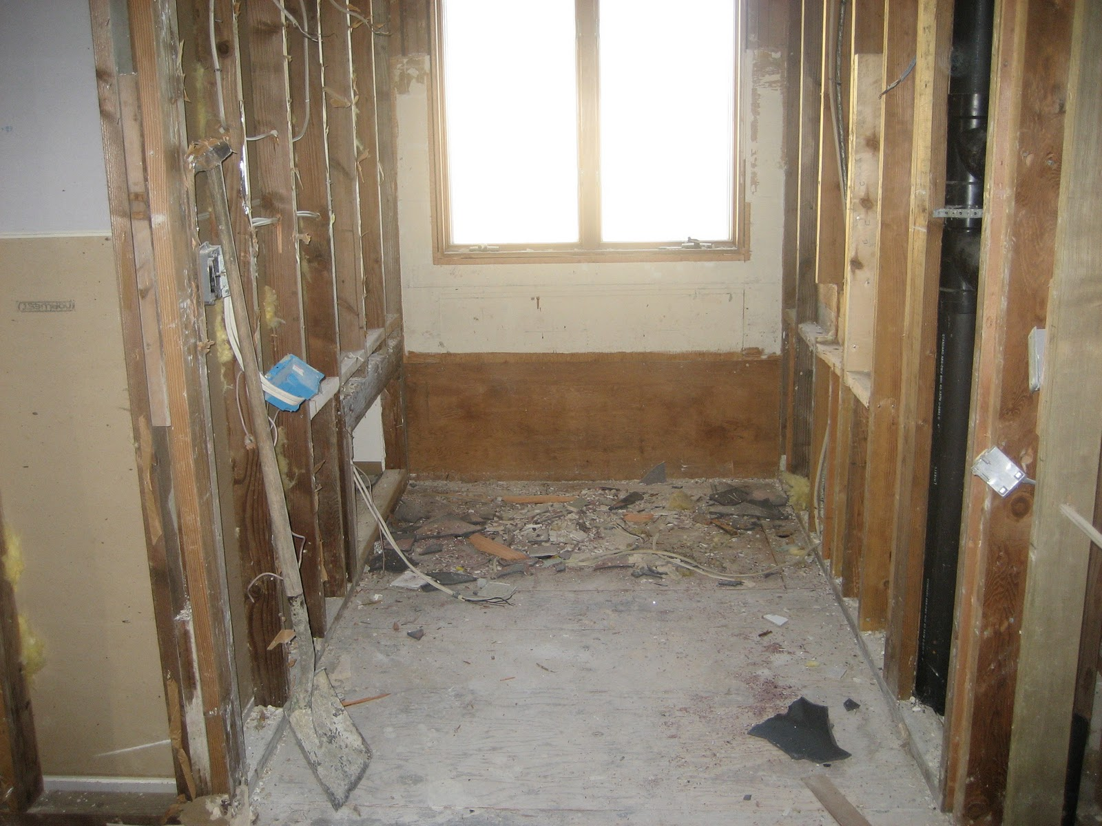 And this is the newly demoed shower area for How to demo a bathroom