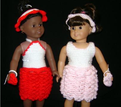 Bizzy Crochet Rose Dress 18 Doll Clothes Pattern