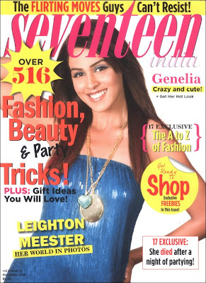 Genelia Dsouza on cover of Seventeen