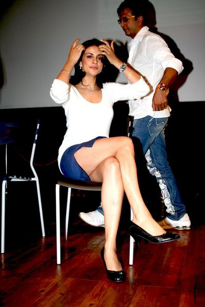 Gul Panag in Blue Short Skirt, Bollywood Actress in Short Skirts