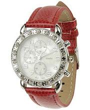Reloj con strass y malla de cuero