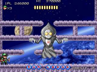Flatwoods monster as the boss of the space level in the arcade game tumblepop