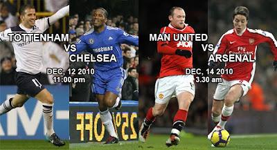 perlawanan tumpuan pasukan Chelsea melawan Pasukan Totenham dan Pasukan Manchester United melawan Pasukan Arsenal