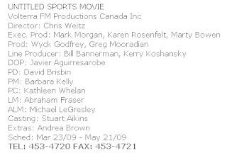Un untitled sports movie sur BC Film Commission