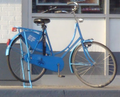 blue ladies bicycle