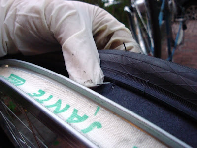 staple through the tire bicycle flat