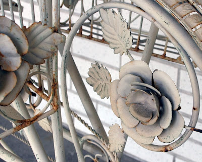 wrought iron bike rose detail
