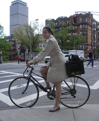 trench coat bicycle Boston