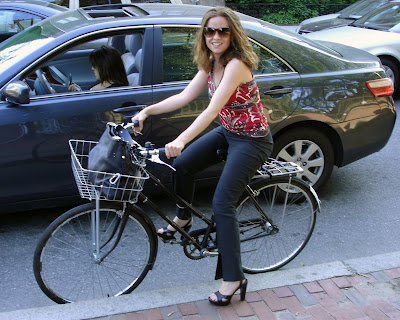 Boston lady bike commuter