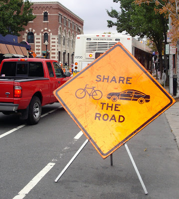 bicycle car share the road sign vehicle