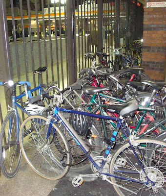 bikes sheltered in Back Bay Station Boston