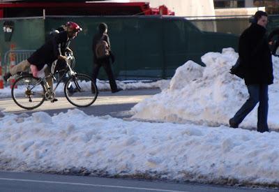 winter cyclist parking bike