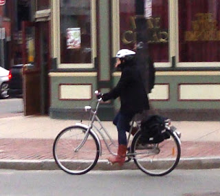 lady biking in boots Boston