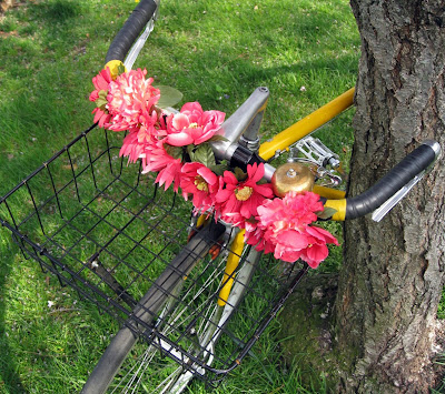 handlebar flowers on a yellow bike