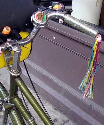 rainbow homemade DIY bike bicycle streamers on the handlebars