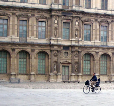 Parisian father bicycle commuting