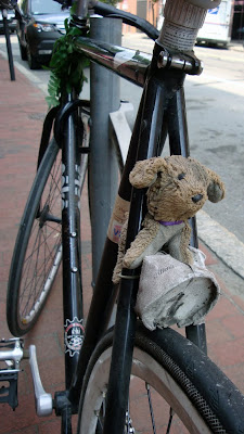 single speed bike with a teddy bear in the seat stays