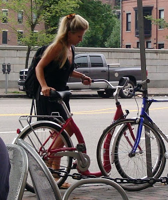 blonde on her bike