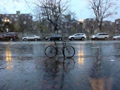 rainy day in Boston with a bike